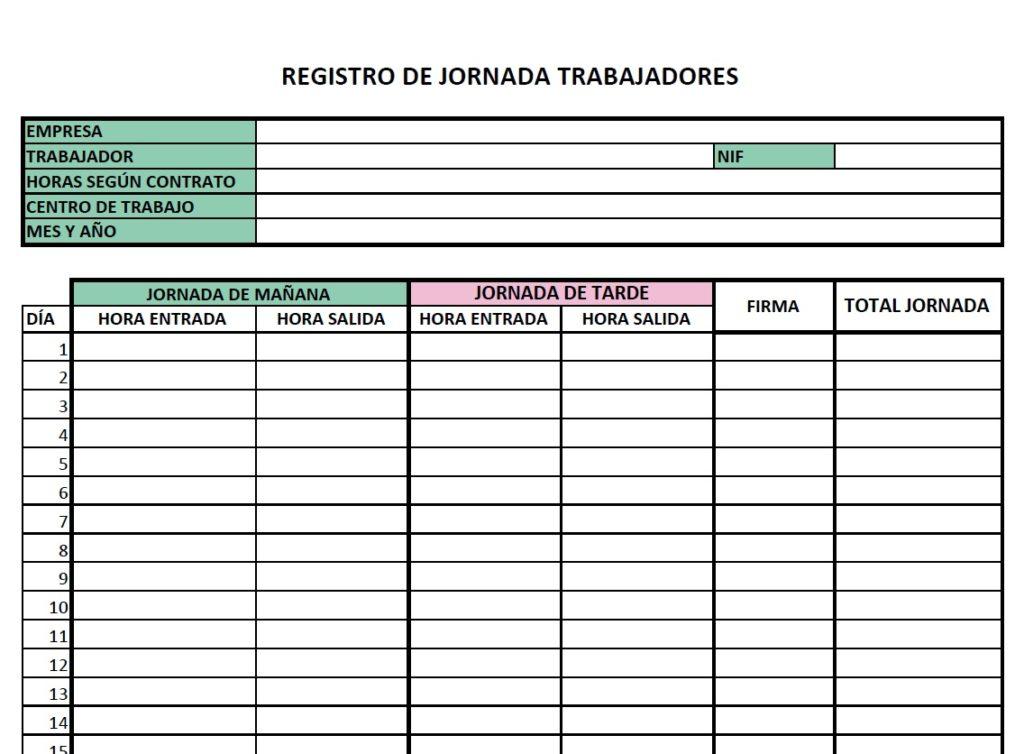 Registro de jornada plantilla